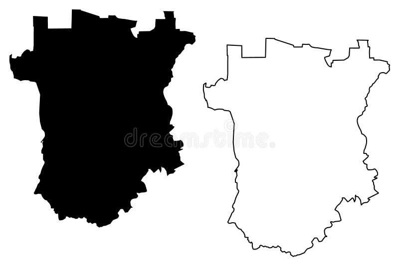 Vetor do mapa de Chechnya ilustração stock