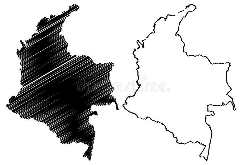 Vetor do mapa de Colômbia ilustração do vetor