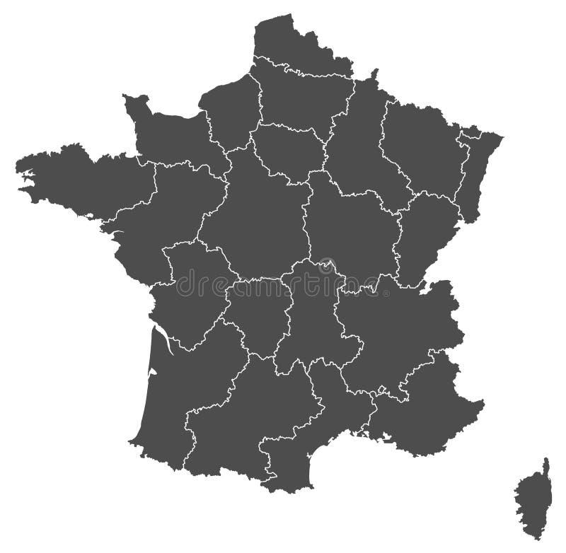 Vetor do mapa de França ilustração royalty free