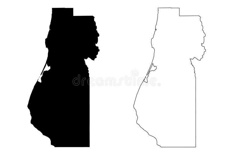 Vetor do mapa de Humboldt County, Califórnia ilustração royalty free