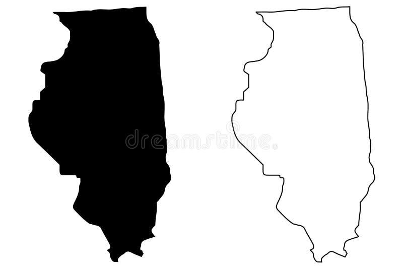 Vetor do mapa de Illinois ilustração royalty free