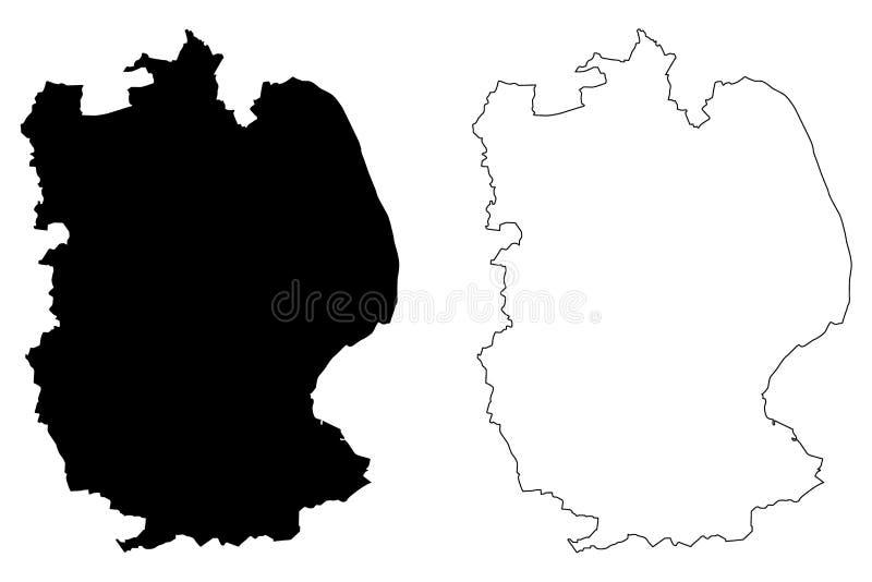 Vetor do mapa de Lincolnshire ilustração royalty free