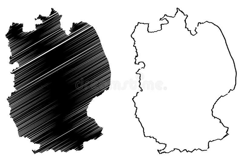 Vetor do mapa de Lincolnshire ilustração do vetor