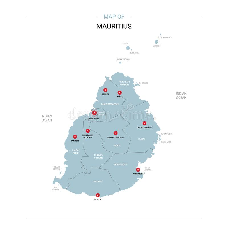 Vetor do mapa de Maurícias com pino vermelho foto de stock royalty free