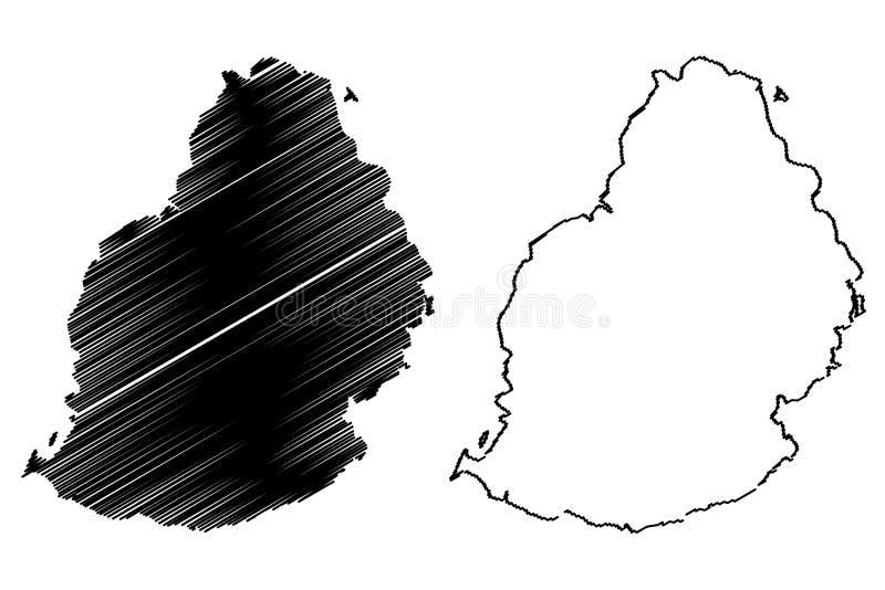 Vetor do mapa de Mauritius Island ilustração do vetor