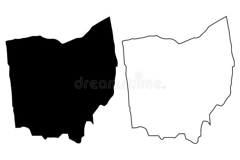 Vetor do mapa de Ohio ilustração do vetor