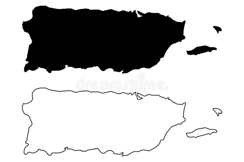 Vetor do mapa de Porto Rico ilustração stock