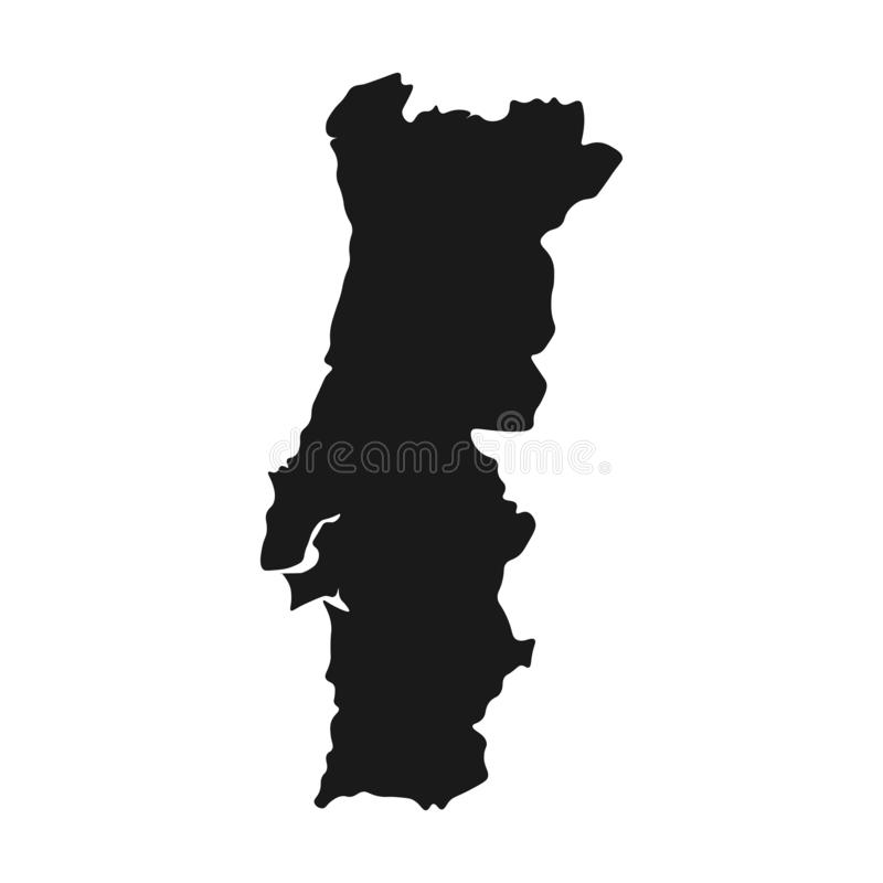 Vetor do mapa de Portugal fundo isolado país da ilustração ilustração royalty free