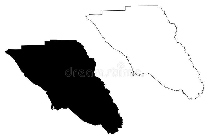 Vetor do mapa de Sonoma County, Califórnia ilustração stock