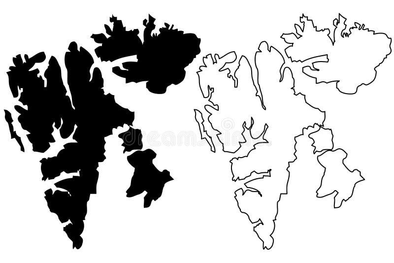 Vetor do mapa de Svalbard da ilha ilustração stock