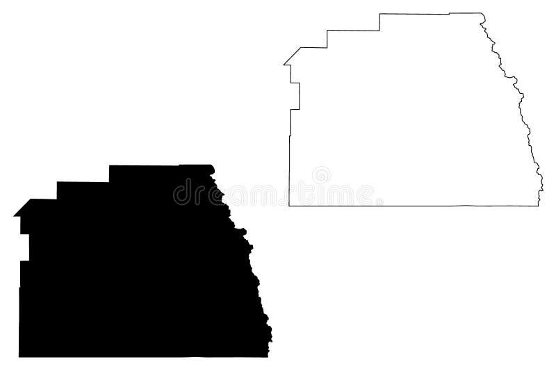Vetor do mapa de Tulare County, Califórnia ilustração stock