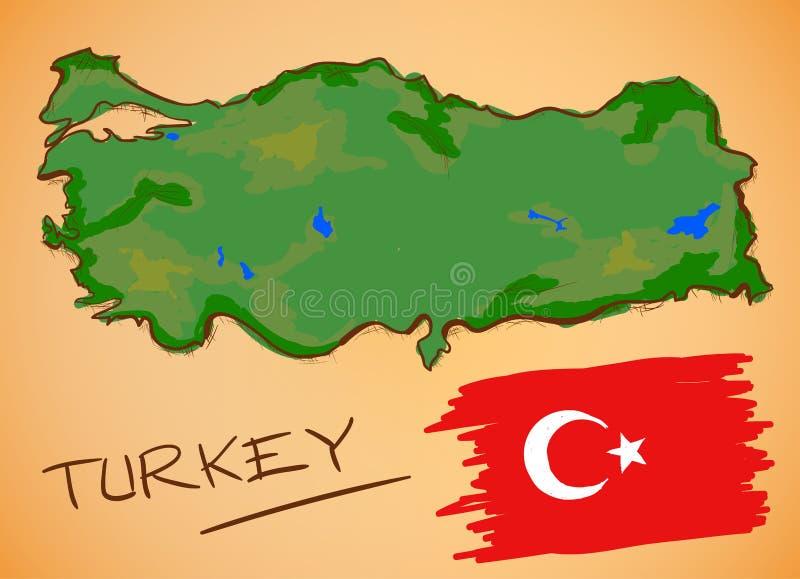 Vetor do mapa de Turquia e da bandeira nacional ilustração do vetor
