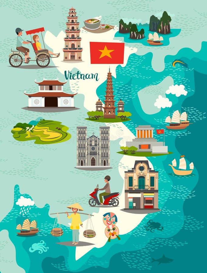 Vetor do mapa de Vietname Mapa ilustrado de Vietname para crianças/criança ilustração royalty free