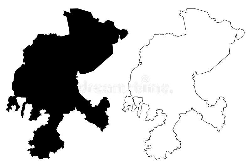 Vetor do mapa de Zacatecas ilustração stock