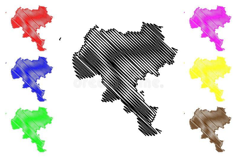 Vetor do mapa do departamento de Cauca ilustração do vetor
