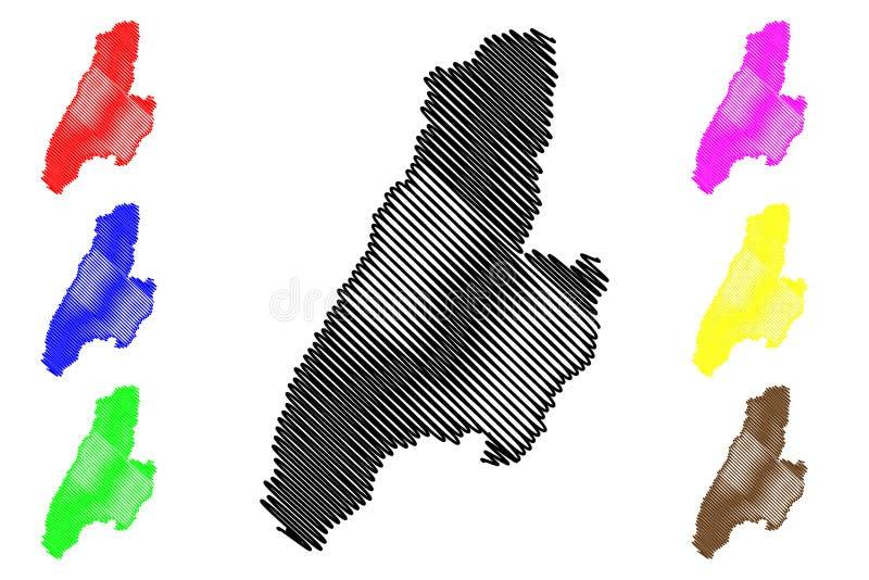 Vetor do mapa do departamento de Tolima ilustração royalty free