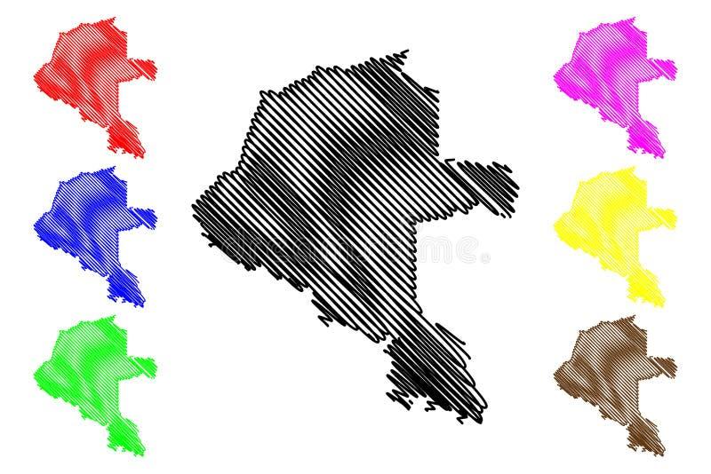 Vetor do mapa do departamento de Vaupes ilustração stock