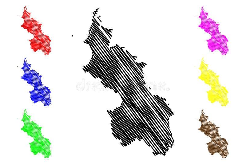 Vetor do mapa do departamento do sucre ilustração stock