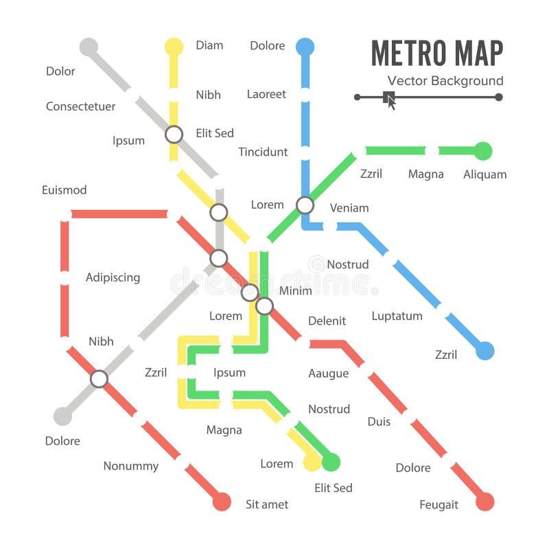 Vetor do mapa do metro conceito do esquema do transporte da cidade Fundo colorido com estações ilustração royalty free