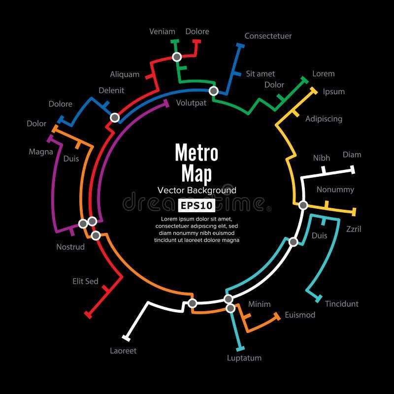 Vetor do mapa do metro Molde do esquema do transporte da cidade para a estrada subterrânea Fundo colorido com estações ilustração stock
