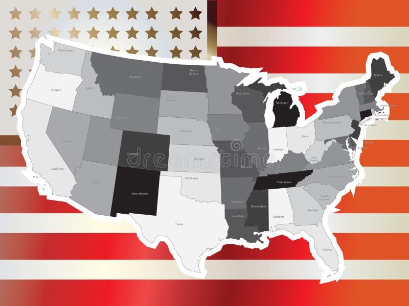 Vetor do mapa dos EUA ilustração royalty free