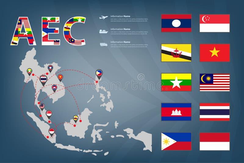 Vetor do mapa e do enlace do transporte da CEA ilustração stock