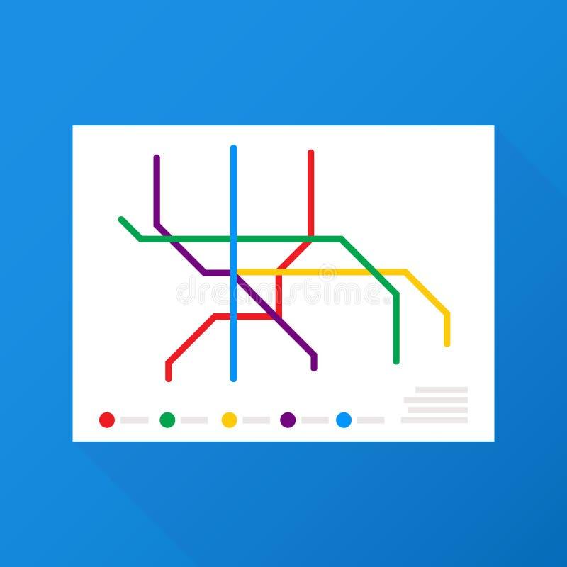 Vetor do mapa do metro Esquema fictício do transporte público da cidade Ilustração do vetor ilustração stock