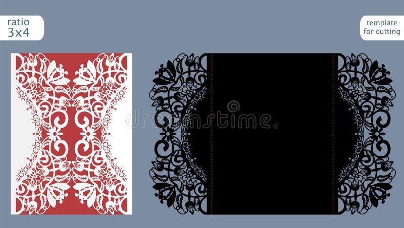 Vetor do molde do cartão do convite do casamento do corte do laser Corte o cartão de papel com teste padrão abstrato Cartão de pa ilustração stock