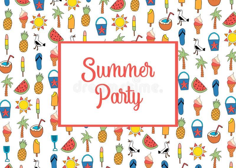 Vetor do molde do cartão do convite do partido do verão com teste padrão dos ícones do verão Melancia, picolé, abacaxi, coco, gel ilustração royalty free