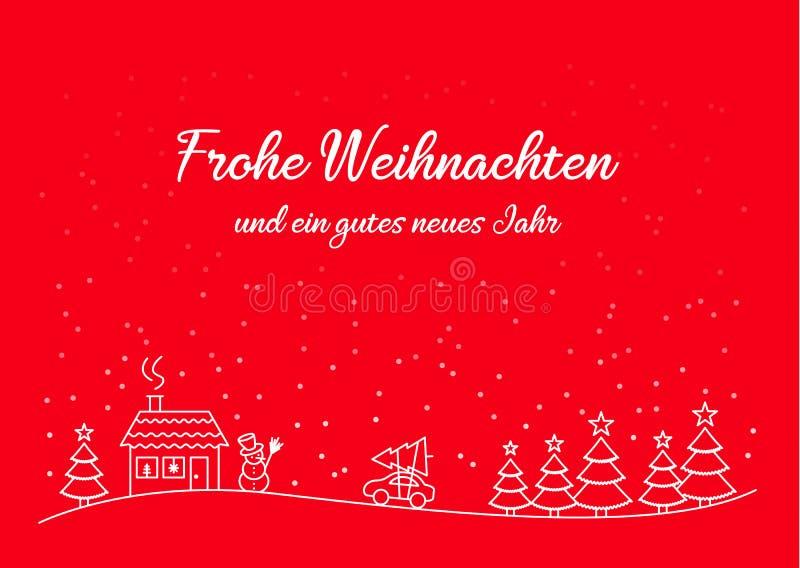 Vetor do molde do cartão de Natal de Frohe Weihnachten ilustração do vetor