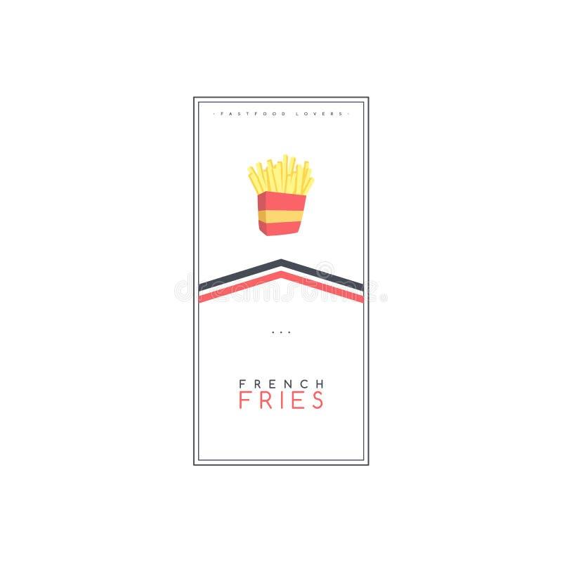 vetor do molde do cartaz do folheto do alimento da batata de batatas fritas e do inseto do tema da bebida ilustração royalty free