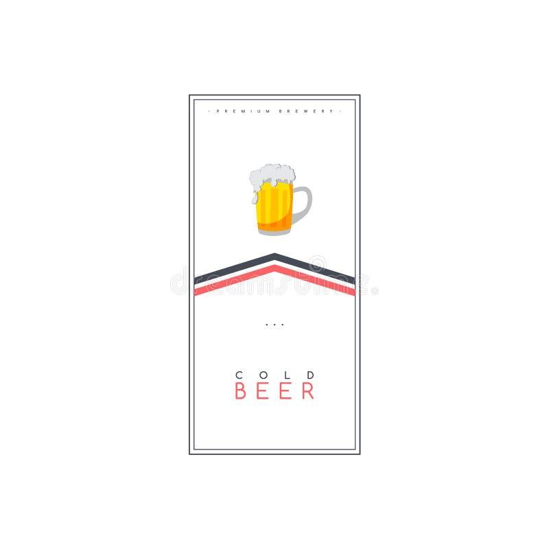 vetor do molde do cartaz do folheto do inseto do tema da bebida da cerveja ilustração royalty free