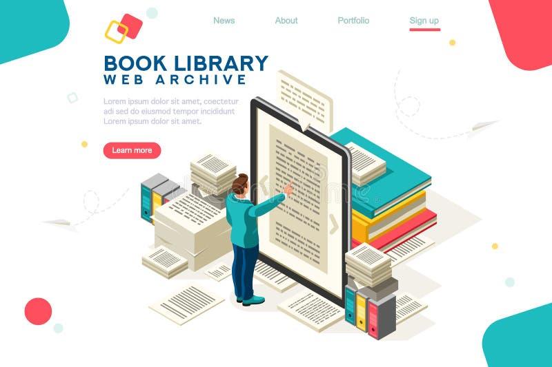 Vetor do molde da biblioteca do livro dos meios ilustração stock