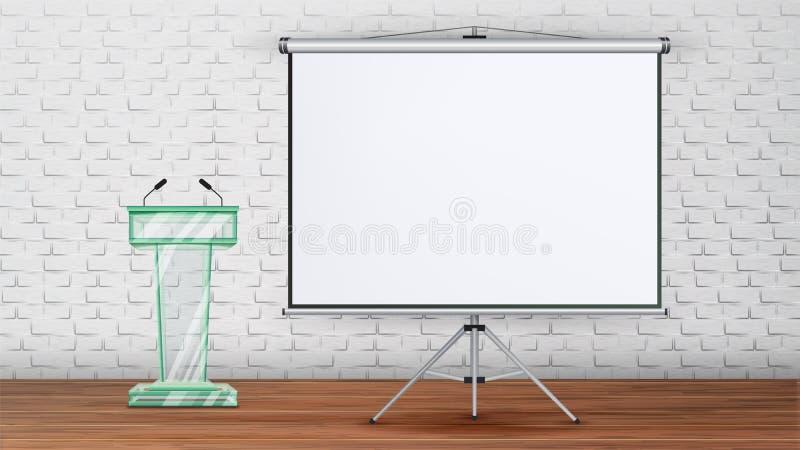 Vetor do molde da sala de seminário da reunião de negócios ilustração stock