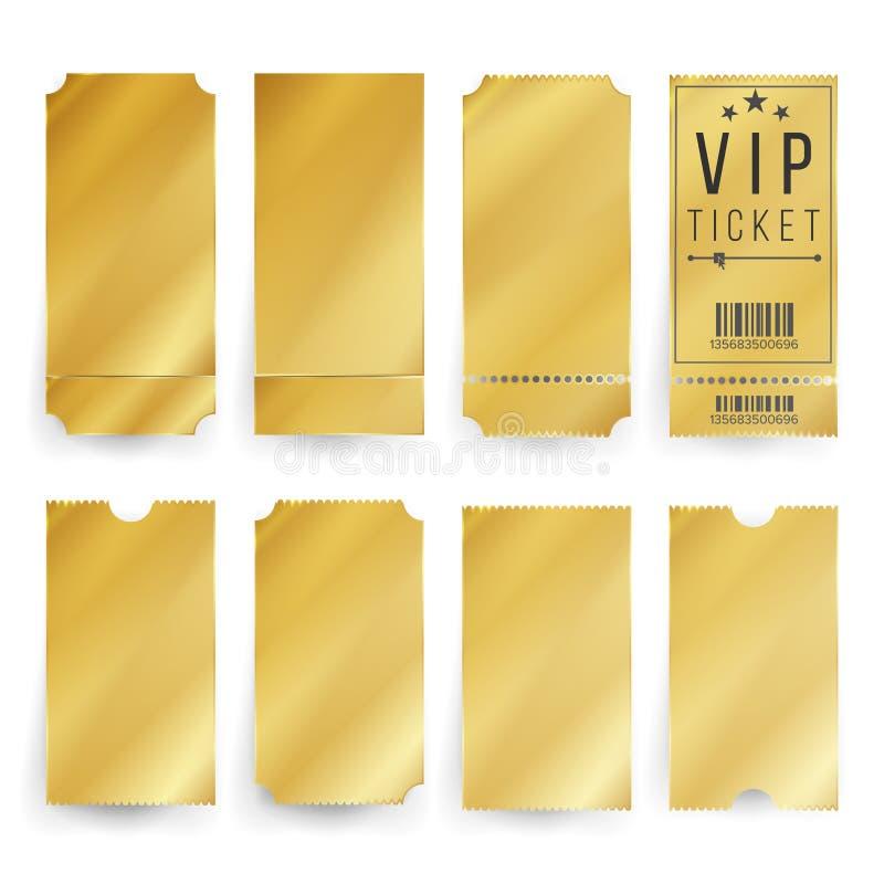 Vetor do molde do bilhete do Vip Bilhetes e placa dourados vazios dos vales Ilustração isolada ilustração royalty free