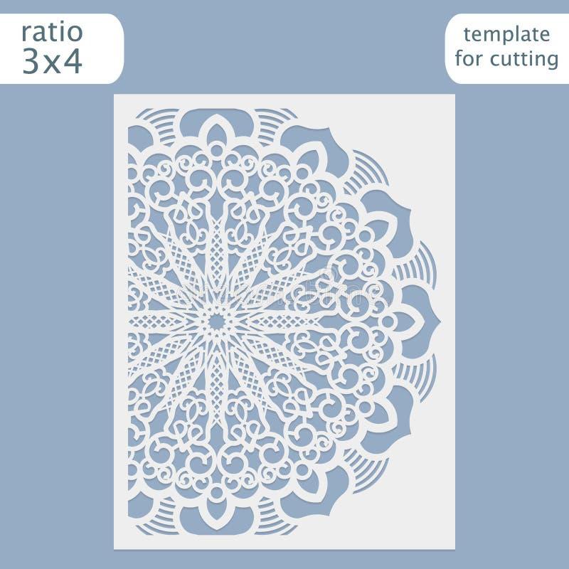 Vetor do molde do cartão do convite do casamento do corte do laser ilustração do vetor