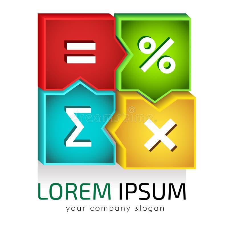 Vetor do molde do logotipo, contabilidade, contabilidade, numeracia, matemática ilustração stock