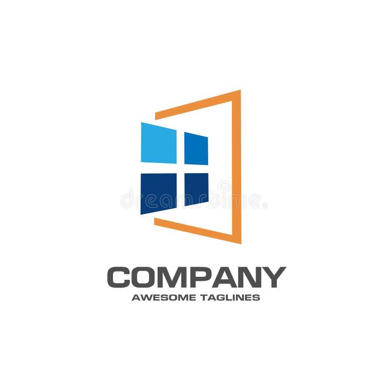 Vetor do molde do logotipo da janela ilustração royalty free