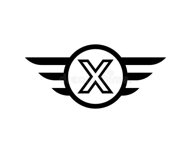 Vetor do molde do logotipo da asa do preto da letra inicial X ilustração stock