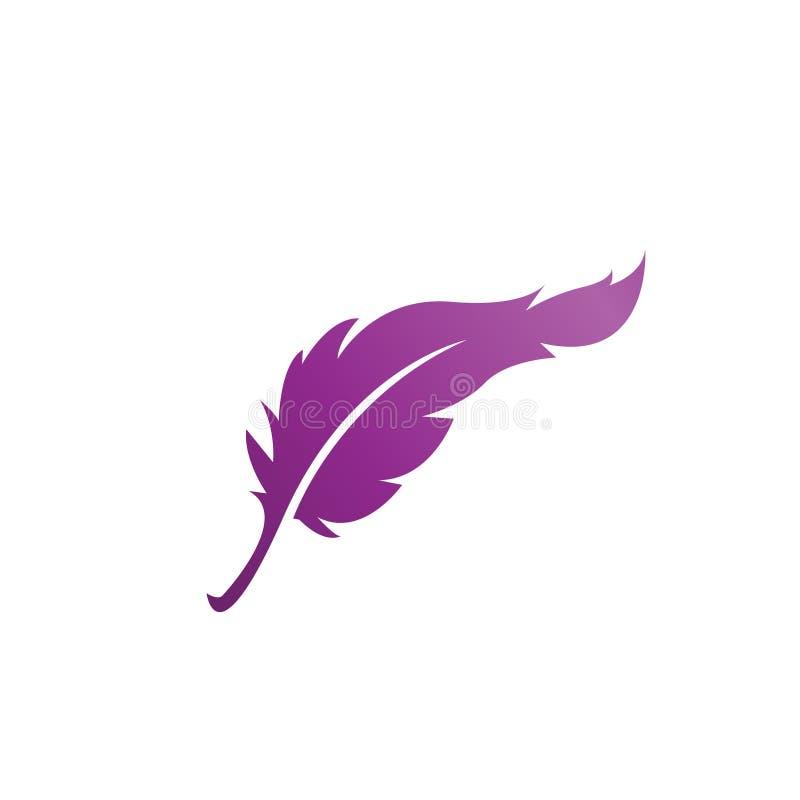 Vetor do molde do projeto do ícone do logotipo da pena isolado ilustração royalty free