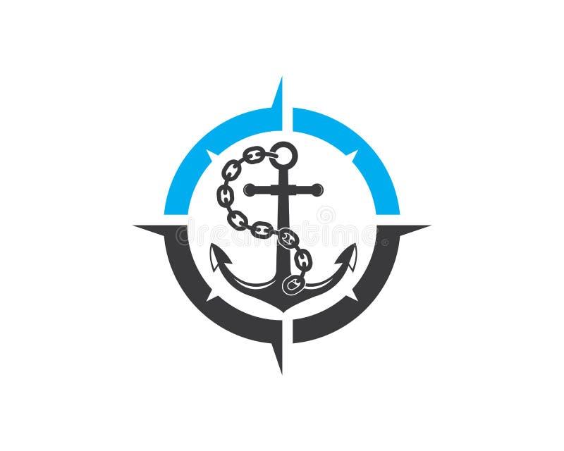 Vetor do molde do projeto do compasso do logotipo do ícone da âncora ilustração do vetor