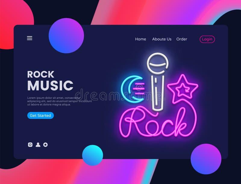 Vetor do molde do projeto da bandeira da música rock Relação da bandeira da Web da estrela do rock, sinal de néon, projeto modern ilustração do vetor