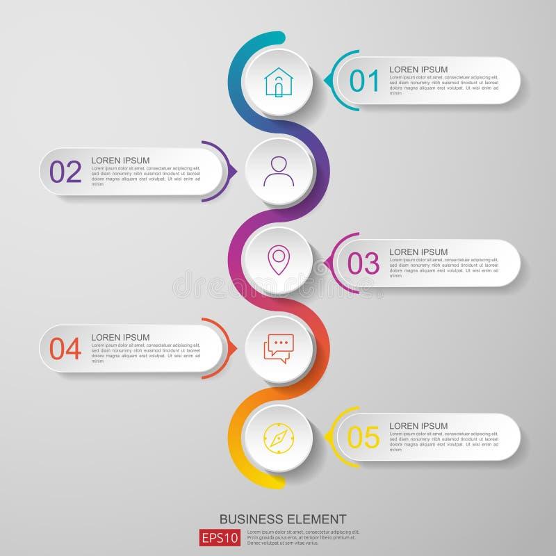 vetor do molde do projeto do espaço temporal do infographics com etiqueta do papel 3D, círculos integrados Conceito do negócio co ilustração do vetor