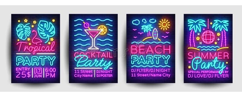 Vetor do néon da coleção dos cartazes do partido do verão Molde do projeto do partido do verão, folheto de néon brilhante, projet ilustração royalty free