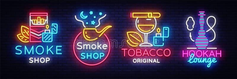 Vetor do néon da coleção do logotipo da loja do cigarro Fume os sinais de néon da loja, sala de estar do cachimbo de água, vetor  ilustração royalty free