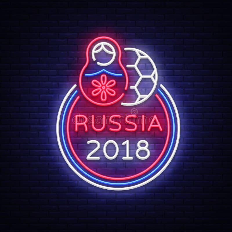 Vetor do néon do logotipo do campeonato do futebol Sinal de néon do futebol, copo europeu 2018 do futebol, bandeira clara, whit d ilustração stock