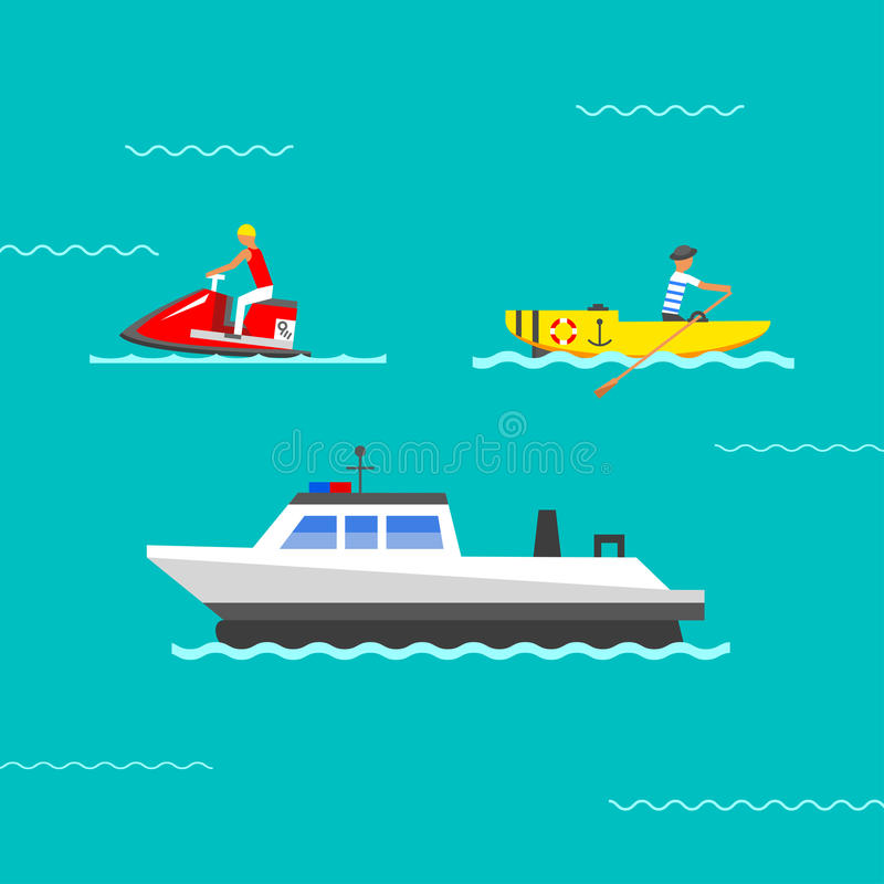 Vetor do navio e dos barcos ilustração do vetor