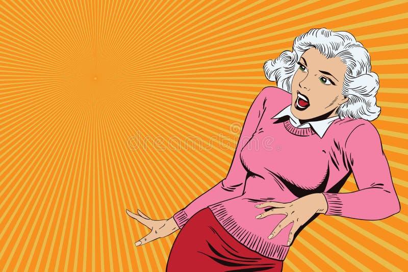 Vetor do negócio da apresentação Template Menina chocado ilustração royalty free