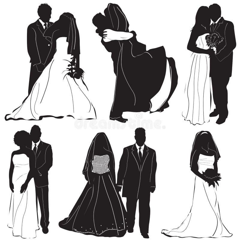 vetor do noivo da noiva ilustração do vetor