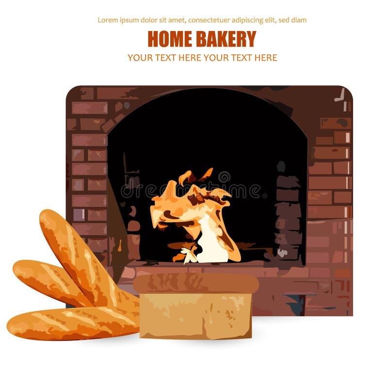 Vetor do pão caseiro Chama de queimadura do forno do tijolo no fundo Ilustrações do cartaz da padaria da casa ilustração do vetor